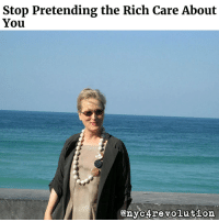 """Stop Pretending the Rich Care About  You  enyc4 revolution THIS. Recommended reading of the day. In reference to the supporters of liberal feminism in the comments section of a recent post. LINK TO FULL ETHER IN BIO - Take for instance the Meryl Streep acceptance speech, widely being lauded as…well, nobody really seems to say what it is besides some rich lady getting up on stage and talking about somebody she doesn't like. Everywhere I look online the words """"heroic"""" are being used, how the speech was """"everything."""" Why? Because some Hollywood actress who supported a widely acknowledged War Criminal feels salty that her personal team of bourgeoisie didn't win an election? Because she """"bravely"""" stood up at a catered event in a dress that cost more than you or I make in a month to tell other rich people how """"persecuted"""" they were? I heard the speech, actually sat down and watched it. No where is she saying that the United States is some fascist superpower, that we've fucked up the world and Donald Trump is set to make it even worse; she's merely upset it's not bombing the ever-living shit out of Syria with silk gloves on. These people are not your goddamn comrades, they are not far away intellectuals that only need to read """"the bread book"""" to figure out where they've gone wrong. These are the same people who RALLIED around a woman that called Black children """"super-predators"""" for godsake! Hollywood """"care"""" for the most """"at risk"""" is merely an act, a feigned empathy that is designed to make you forget that when push comes to shove they will make sure their money in tax-free offshore accounts stays safe rather than fund homeless shelters or soup kitchens. l """"Disrespect invites disrespect. Violence incites violence,"""" says Meryl, clutching her pearls amid other American aristocrats whose lives depend on the ongoing exploitation of millions."""