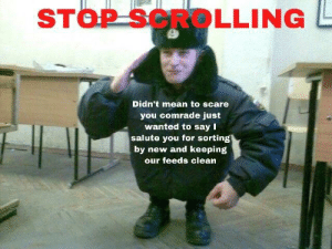 Dank, Memes, and Scare: STOP SCROLLING  Didn't mean to scare  you comrade just  wanted to say I  salute you for sorting  by new and keeping  our feeds clean Thanks guys! by Delcarius MORE MEMES
