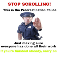 Police: STOP SCROLLING!  This is the Procrastination Police  Just making sure  everyone has done all their work  If you're finished already, carry on