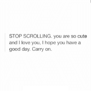 https://iglovequotes.net/: STOP SCROLLING. you are so cute  and I love you, I hope you have a  good day. Carry on. https://iglovequotes.net/