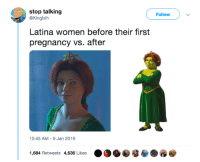 Pregnancy, Women, and Latina: stop talking  Follow  @Kinglzih  Latina women before their first  pregnancy vs. after  10:45 AM -9 Jan 2019  1,684 Retweets 4,636 Likes . Im going to get shot for this