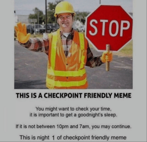 S L E E P: STOP  THIS IS A CHECKPOINT FRIENDLY MEME  You might want to check your time  it is important to get a goodnight's sleep.  If it is not between 10pm and 7am, you may continue.  This is night 1 of checkpoint friendly meme S L E E P