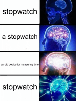 Fucking, Funny, and Life: stopwatch  a stopwatch  an old device for measuring time  stopwatch roguesquirrel: twitter bots that just take the skeleton of a meme and then plug stuff in are too powerful, i will never make something this fucking funny in my life