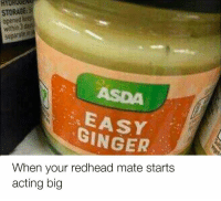 🤣🤣😂😂😎😎: STORAGE:S  opened k  separate i  STORAGE  ASDA  EASY  GINGER  When your redhead mate starts  acting big 🤣🤣😂😂😎😎