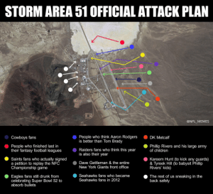 Storm Area 51 Official Attack Plan: https://t.co/RXB7qQFc2F: STORM AREA 51 OFFICIAL ATTACK PLAN  @NFL_MEMES  People who think Aaron Rodgers  is better than Tom Brady  Cowboys fans  DK Metcalf  People who finished last in  their fantasy football leagues  Phillip Rivers and his large army  of children  Raiders fans who think this year  is also their year  Kareem Hunt (to kick any guards)  & Tyreek Hill (to babysit Phillip  Rivers' kids)  Saints fans who actually signed  a petition to replay the NFC  Championship game  Dave Gettleman & the entire  New York Giants front office  Seahawks fans who became  Seahawks fans in 2012  Eagles fans still drunk from  celebrating Super Bowl 52 to  absorb bullets  The rest of us sneaking in the  back safely Storm Area 51 Official Attack Plan: https://t.co/RXB7qQFc2F