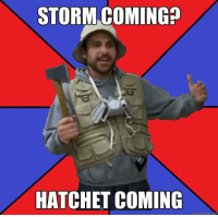 Everyone in Florida right now: STORM COMING?  HATCHET COMING  quick meme Everyone in Florida right now