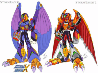 STORM EAGLE  STORM EAGLE L Fun Fact: In the mid to late 90's Bandai distributed a series of Megaman X cards through their Carddass machines. The series was titled Rockman X Mega Mission. The only thing of note about the series was that it introduced revived & upgraded forms for all the Mavericks from X1,2 and half the Mavericks from X3.   Sauce: http://gunzcon.deviantart.com/art/Storm-Eagle-and-Storm-Eagle-L-Style-KE-color-480517970