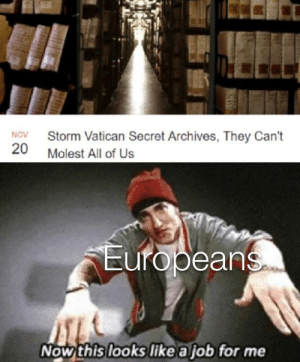 srsfunny:Our time has come boys…: Storm Vatican Secret Archives, They Can't  NOV  20  Molest All of Us  Europeans  Now this looks like a job for me srsfunny:Our time has come boys…