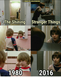 STORMBORN.DRAGONBORN  The Shining  Stranger Things  1980  2016 Nobody films a bathroom scene better than Stanley Kubrick! 🛁🚽