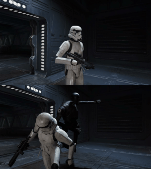 Stormtrooper getting beaten by a KX droid: Stormtrooper getting beaten by a KX droid