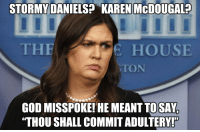 "God, Politics, and House: STORMY  ANIELS? KAREN McDOUGAL?  THE  HOUSE  TON  GOD MISSPOKE!'HE MEANT TOSAY  ""THOU SHALL COMMIT ADULTERY!  0 God Misspoke."