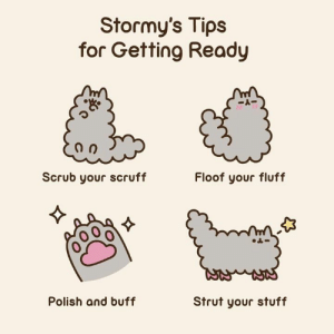 Dank, Stuff, and 🤖: Stormy's Tips  for Getting Ready  Scrub your scruff  Floof your fluff  0  Polish and buff  Strut your stuff 💅🐾🐈✨