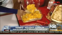 Costco, Food, and Gif: STORY  HARRIS HOLIDAY COBBLER  POUR IN PEACH-MIX&SPRINKLE ON SOME SUGAR friend  LIVE  HO BOUGHT PRODUCT AT ANY U.S. COSTCO STORE ADVISED TO THROW FOOD AW returnmyslab: thatpettyblackgirl:     That little girl was like     LMAO