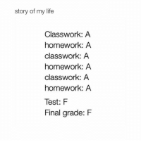 Life, Memes, and Test: story of my life  Classwork: A  homework: A  classwork: A  homework: A  classwork: A  homework: A  Test: F  Final arade: F Sums it up just right... @memes memesapp