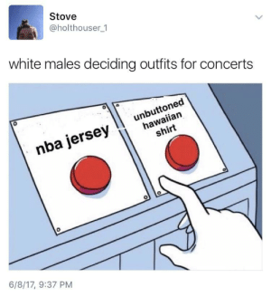 Nba, White, and Hawaiian: Stove  @holthouser 1  white males deciding outfits for concerts  0  hawaiian  shirt  nba jersevI unbuttoned  0  6/8/17, 9:37 PM Unbuttoned Hawaiian nba jersey 🤔