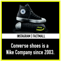 🤔😅 *Has been: STRA  ONVERSE  INSTAGRAMI FACT MALL  Converse shoes is a  Nike Company since 2003 🤔😅 *Has been