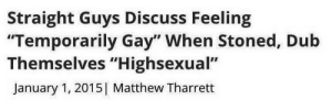 "Temporarily: Straight Guys Discuss Feeling  ""Temporarily Gay"" When Stoned, Dub  Themselves ""Highsexual""  January 1, 2015