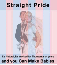 Straight Pride: Straight Pride  it's Natural, it's Worked forThousands of years  and you Can Make Babies
