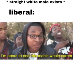 * straight white male exists *  liberal:  I'm about to end this man's whole career Liberals