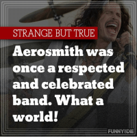 Aerosmith: STRANGE BUT TRUE  Aerosmith was  once a respected  and celebrated  band. What a  world!  FUNNY DIE