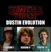 STRANGER  DUSTIN EVOLUTION  SEASON 20  SEASON 1  SEASON 9 A evolução de Stranger Things