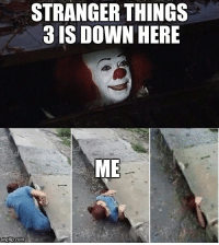 Com, Pennywise, and Down: STRANGER THINGS  3 IS DOWN HERE  ME  imgtip.com Pennywise