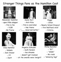 "Eliza or Angelica 😂😂~Stella: Stranger Things Fans as the Hamilton Cast  Alexander Hamilton  Aaron Burr  Peggy  open Fillie shipper  Anti-Fillie  Simon  Finn is fav  Finn is overrated Beauty School Dropout  YLBB  Has theme  Finn Wolfhard who?  deserved better.  -No Theme  Victoria  Phillip Hamilton  Angelica Schuyler  Eliza Hamilton  RT  multi-fandom  Wobelo  SAME  live streams  Jack Grazer  No creds  doesn't get involved  IT!  oh the awards were tonight?  ''annoying tags""  Jyatt Eliza or Angelica 😂😂~Stella"