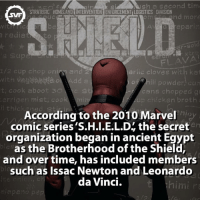 S.H.I.E.L.D. 🏢 Fact via @marvelousfacts Follow @animalplanetfacts: STRATEGIC HDMELAND INTERVENTION ENFORCEMENTILOGISTICS DIVISION  and more  1/2 cup chop on  arlic cloves with kat  with vaga A  ili powder, cu  cook aboot  cans chopped gi  ria mist, Coot  n broth  thic  According to the 2010 Marvel  comic series 'S.H.I.E.L.D the secret  organization began in ancient Egypt  as the Brotherhood ofthe Shield,  and over time, has included members  such as Issac Newton and Leonardo  da Vinci.  him S.H.I.E.L.D. 🏢 Fact via @marvelousfacts Follow @animalplanetfacts
