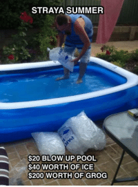 Memes, Ups, and Summer: STRAYA SUMMER  $20 BLOW UP POOL  $40 WORTH OF ICE  $200 WORTH OF GROG