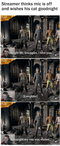 """<p><a href=""""https://thecheshirecass.tumblr.com/post/165465665312/positive-memes-wholesome-streamer-thinks-his"""" class=""""tumblr_blog"""">thecheshirecass</a>:</p><blockquote> <p><a href=""""https://positive-memes.tumblr.com/post/165007172445/wholesome-streamer-thinks-his-microphone-is-muted"""" class=""""tumblr_blog"""">positive-memes</a>:</p> <blockquote><p>wholesome streamer thinks his microphone is muted, wishes his cat goodnight</p></blockquote>  <p>Now THIS is a heated gaming moment.</p> </blockquote>: Streamer thinks mic is off  and wishes his cat goodnight  PLAY  ATTLEGROUN  CHARACTER REWARDS  Ginight Mr, Snuggles. I love you  SOURCE: YungKoop  PLAY  BATTLEGROUND  CHARACTER REWARDS  [Laughter]  SOURCE: YungKoop  PLAY  BATTLEG  HOME  CHARACTER REWARDS  thought my mic was muted.""""  SOURCE: YungKoop <p><a href=""""https://thecheshirecass.tumblr.com/post/165465665312/positive-memes-wholesome-streamer-thinks-his"""" class=""""tumblr_blog"""">thecheshirecass</a>:</p><blockquote> <p><a href=""""https://positive-memes.tumblr.com/post/165007172445/wholesome-streamer-thinks-his-microphone-is-muted"""" class=""""tumblr_blog"""">positive-memes</a>:</p> <blockquote><p>wholesome streamer thinks his microphone is muted, wishes his cat goodnight</p></blockquote>  <p>Now THIS is a heated gaming moment.</p> </blockquote>"""