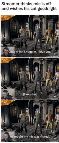 """<p>Wholesome streamer :) via /r/wholesomememes <a href=""""http://ift.tt/2xg9eAO"""">http://ift.tt/2xg9eAO</a></p>: Streamer thinks mic is off  and wishes his cat goodnight  PLAY  ATTLEGOUN  CHARACTER REWARDS  Gnight Mr, Snuggles. I love you""""  SOURCE YungKoop  PLAY  BATTLEGROUND  CHARACTER REWARDS  [Laughter]  SOURCE: YungKoop  PLAY  BATTLEG  HOME  CHARACTER REWARDS  thought my mic was muted.""""  SOURCE: YungKoop <p>Wholesome streamer :) via /r/wholesomememes <a href=""""http://ift.tt/2xg9eAO"""">http://ift.tt/2xg9eAO</a></p>"""