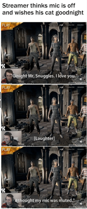 """Love, Memes, and Tumblr: Streamer thinks mic is off  and wishes his cat goodnight  PLAY  ATTLEGROUN  CHARACTER REWARDS  Ginight Mr, Snuggles. I love you  SOURCE: YungKoop  PLAY  BATTLEGROUND  CHARACTER REWARDS  [Laughter]  SOURCE: YungKoop  PLAY  BATTLEG  HOME  CHARACTER REWARDS  thought my mic was muted.""""  SOURCE: YungKoop positive-memes: wholesome streamer thinks his microphone is muted, wishes his cat goodnight"""