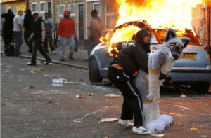 Spring, Arab, and Arab Spring: Street riots in Tunisa during the Arab Spring (ca. 2011)