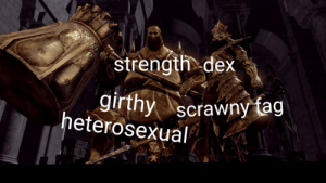 Knowing is half the battle: strength.dex  girthy  heterosexual  scrawny tag Knowing is half the battle