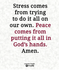 Life, Memes, and Peace: Stress comes  from trying  to do it all on  our own. Peace  comes from  putting it all in  God's hands.  Amen.  Lessons Taught  By LIFE <3