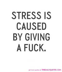 stress: STRESS IS  CAUSED  BY GIVING  A FUCK  get more quotes at THEDAILYQUOTES.coM