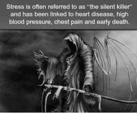 """Bloods, Creepy, and Love: Stress is often referred to as """"the silent killer'  and has been linked to heart disease, high  blood pressure, chest pain and early death Follow @the.paranormal.guide for more! . . . . . HASHTAGS BELOW . . . . . . . . . . . scary creepy gore horrormovie blood horrorfan love horrorjunkie ahs twd horror supernatural horroraddict makeup murder spooky terror creepypasta evil metal bloody follow paranormal ghost haunted me serialkiller like4like deepweb"""