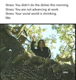 *dissociation intensifies*: Stress: You didn't do the dishes this morning  Stress: You are not advancing at work.  Stress: Your social world is shrinking  Ме:  abc *dissociation intensifies*