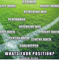 What's your position? 🤔: STRIKER  LEFT WING  RIGHT WING  ATTACKING MID  PLAYMAKER  DEFENSIVE MID  LEFT BACK  RIGHT BACK  CENTRE BACK CENTRE BACK  GOALKEEPER  WHATS YOUR POSITION?  comment beloW.. What's your position? 🤔
