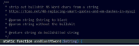 strip out bullshit MS Word chars from a string  https  toao.net/48-replacin  smart-quotes-and-em-dashes- in  @param string string to blast  @param string without the bullshit  @return string de-bullshitted string  static function assBlastMSWord  $string Because fuck Word