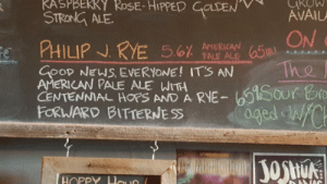 scifiseries:  A new menu item at Ore Dock Brewery in Michigan's upper peninsula: STRONG ALE  ON  -a Tho  GOOD NEW EVERYONE! ITS AN  AMERICAN PALE ALE WITH  CENTENNIAL AND A RVE-t sour b  FORWARD BITTERNESS  HOPP scifiseries:  A new menu item at Ore Dock Brewery in Michigan's upper peninsula