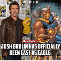Memes, Marvel, and Time: STRUERACT #1373  ERNATIONAL.  NTER  DIEGO SA  INTERNATIONAL  ERNATIONAL. INP  NAL  NTERNTOML  N DIE  N DIE  MarvelTrueFacts  JOSH BROLINHASOFFICIALty  BEEN CAST ASCABLE  COL What do you guys think about this casting? 🤔 For those who didn't know Brolin also portrays Thanos in the MCU. So basically this guy is portraying two of the most badass Marvel characters of all time. 👏🏻