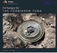 MEIrl: Strype  @StrypeisonFire  Follow  I'm hungry for  THE FORBIDDEN TUNA  9:35 AM-6 Jun 2018 MEIrl