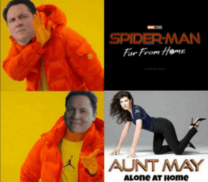 Pleasant anticipation: STS  SPIDER MAN  Far From Heme  AUNT MAY  ALONE AT HOme Pleasant anticipation