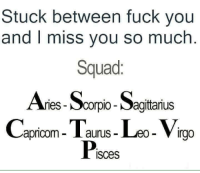 Fuck You, Squad, and Fuck: Stuck between fuck you  and I miss you so much  Squad:  Ar  ries Scorpio-Sagittanus  apricom- I aurus- Leo- Virga  Pisces
