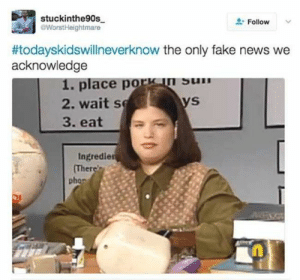 Fake, Memes, and News: stuckinthe90s  WorstHeightmare  Follow  #todayskidswillneverknow the only fake news we  acknowledge  1. place porsn suIn  2. waits  3. eat  Ingredie  Ther  phon Memes Only Kids From The 90s Will Understand | Fun