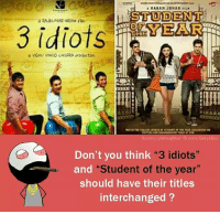 "Memes, fb.com, and 3 Idiots: STUDENT  com/dielaughter fb.com/BeLykBro  Don't you think ""3 idiots""  and ""Student of the year  should have their titles  interchanged?"