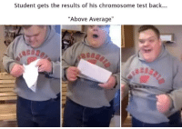 "Test, Back, and Student: Student gets the results of his chromosome test back...  ""Above Average"" <p>Above Average</p>"