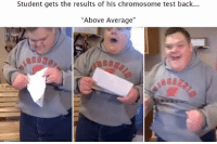 "Test, Back, and Student: Student gets the results of his chromosome test back...  ""Above Average"""