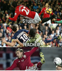 Memes, 🤖, and Student: STUDENT  TEACHER  IGE GdWORLDFOOTBALLVIDS  LECT  LORD Student! Teacher! Lord!